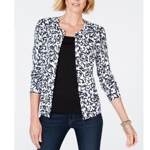 Karen Scott Sweaters - KAREN SCOTT Cotton Print Cardigan